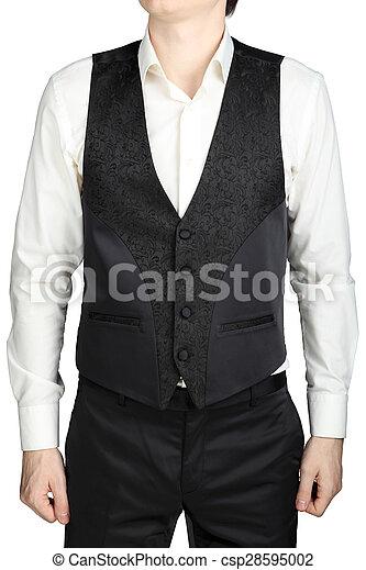 Black patterned vest wedding suit bridegroom isolated on white ...