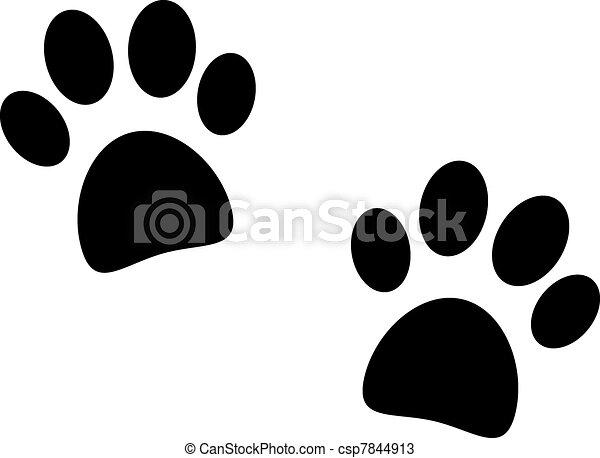 Black paw print on white - csp7844913