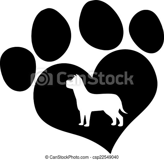 Black Paw Print With Dog Silhouette - csp22549040