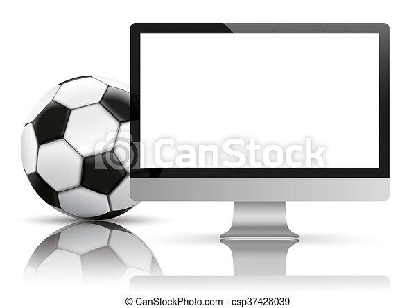 Black PC Monitor Football Mockup Mirror - csp37428039