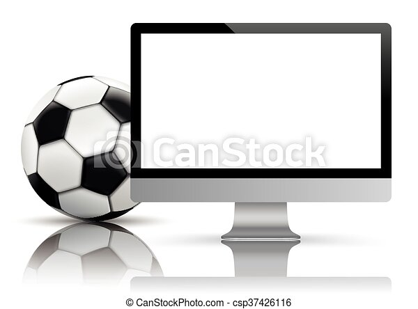 Black PC Monitor Football Mockup Mirror - csp37426116