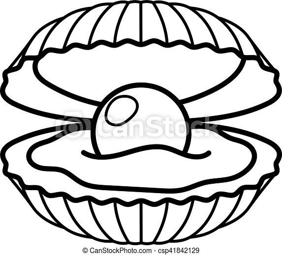 black pearl in shell icon black pearl in shell line gift vector rh canstockphoto com pearl border clip art black pearl clipart