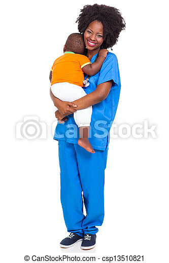 Black pediatric nurse with child - csp13510821