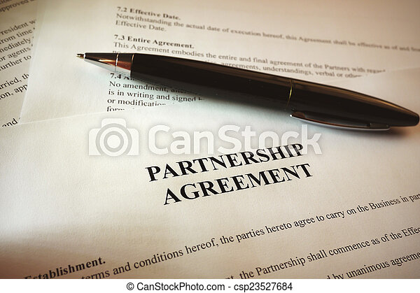 Black Pen With Legal Contract Partnership Agreement And  Pictures