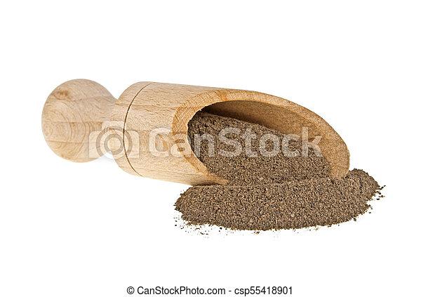 Black pepper in wooden shovel on a white background - csp55418901