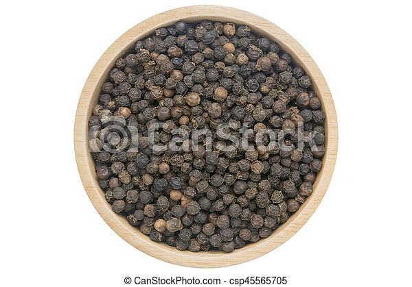 Black peppercorns in wooden bowl isolated top view on white - csp45565705