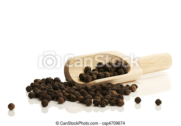 black peppercorns with a small wooden shovel from side on white background - csp4709674