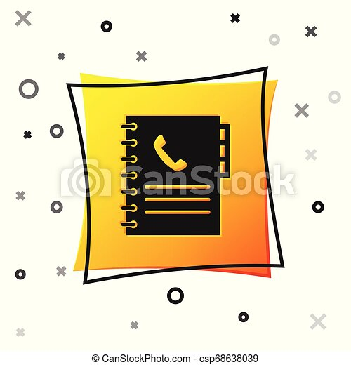 Black Phone book icon isolated on white background. Address book. Telephone directory. Yellow square button. Vector Illustration - csp68638039