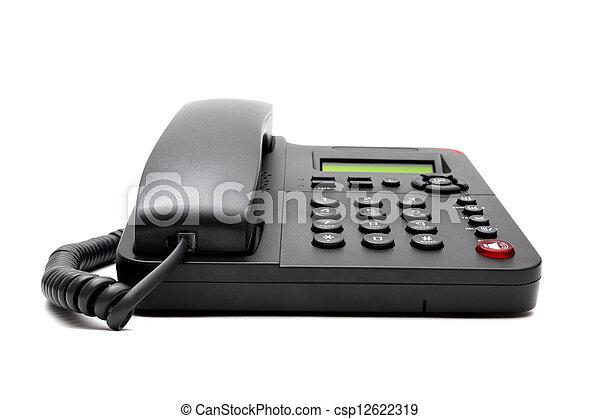 black phone isolated on white background - csp12622319