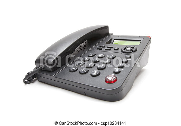 black phone isolated on white background - csp10284141