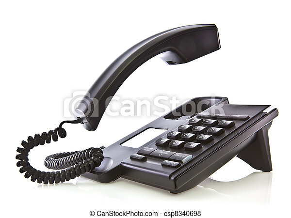 Black phone with floating handset  - csp8340698
