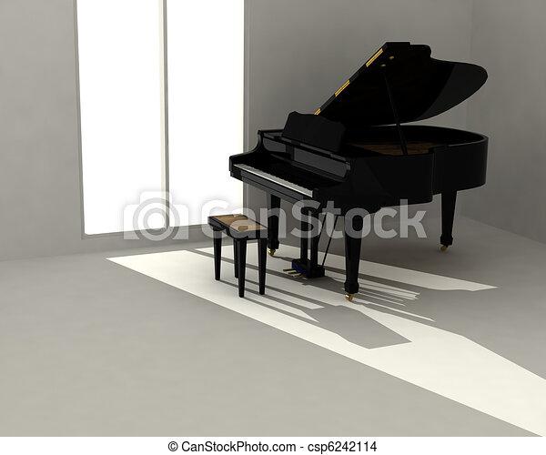 Black piano in white room - csp6242114