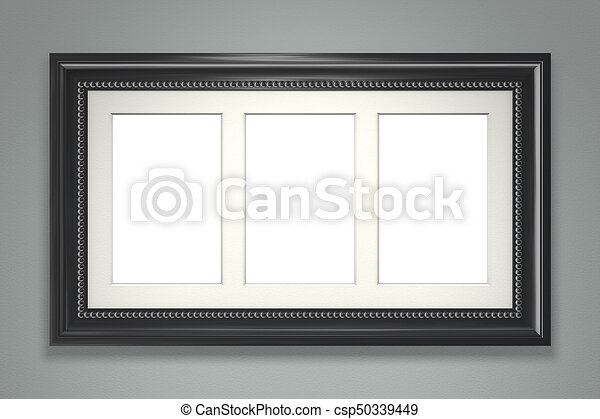 Black picture frame on gray wall - csp50339449
