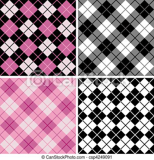 black-pink, argyle-plaid, modèle - csp4249091
