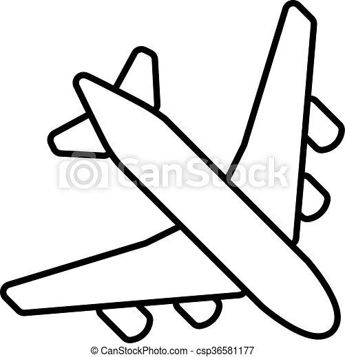 black plane outline vector