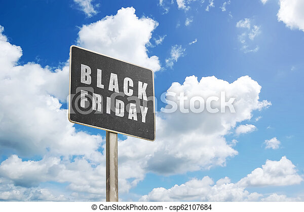 Black plank with Black Friday sign - csp62107684
