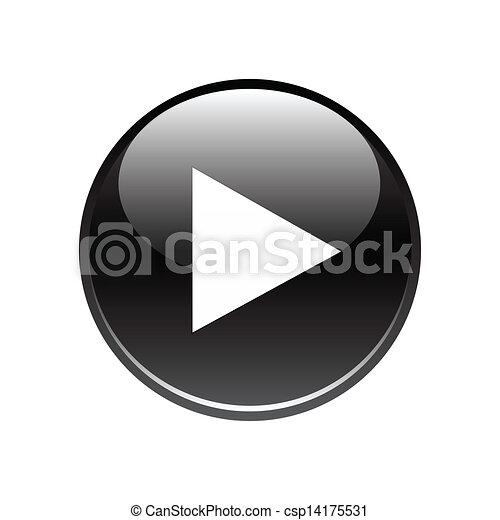 Black play button on white - csp14175531