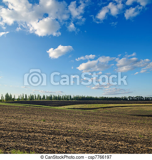 black ploughed field under blue sky - csp7766197