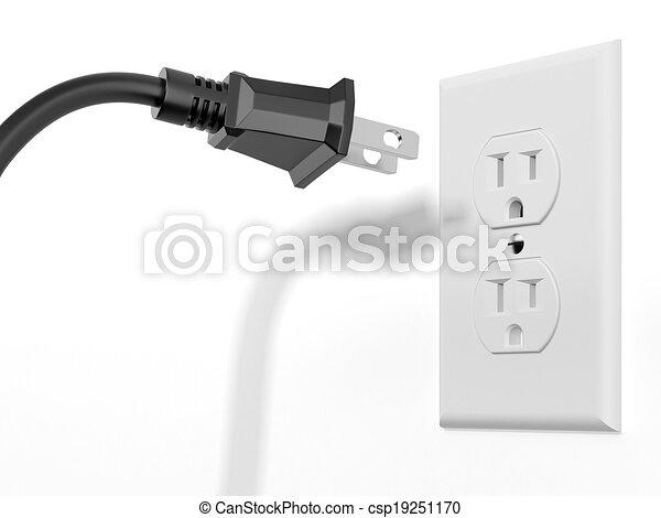 black plug and white socket - csp19251170