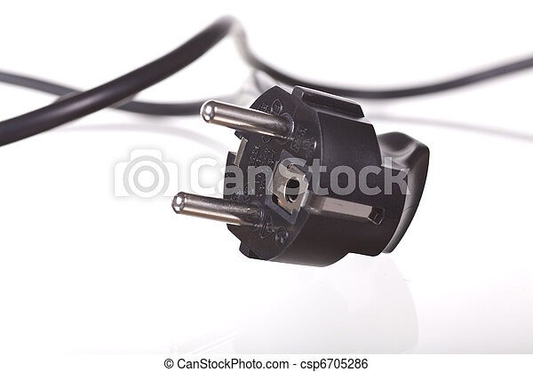black plug over white background - csp6705286
