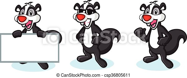 Black Polecat Mascot happy - csp36805611