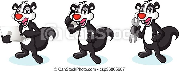 Black Polecat Mascot with phone - csp36805607