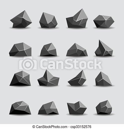 Black polygon stone and poly rocks - csp33152576