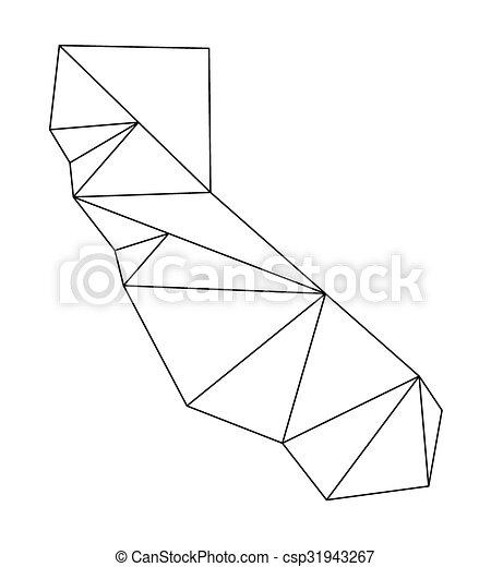 Black Polygonal Outline Of Vector Map California