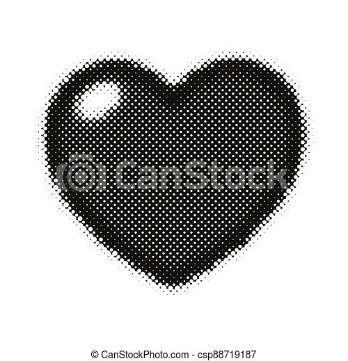 Black pop art heart shape icon. - csp88719187