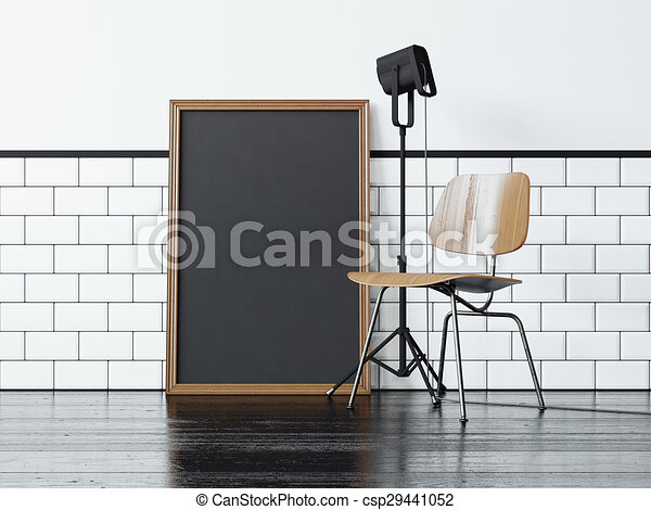 Black poster near the chair. 3d rendering - csp29441052