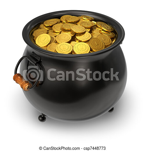 Black pot full of gold coins - csp7448773