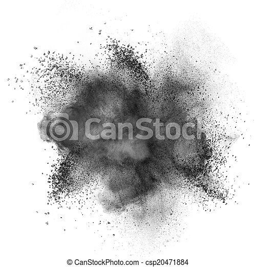 Black powder explosion isolated on white - csp20471884
