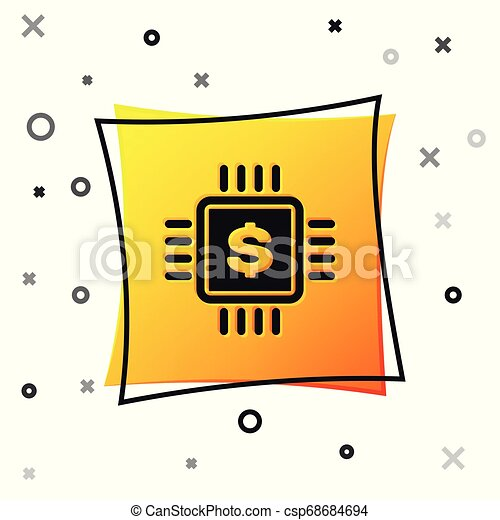 Black Processor chip with dollar icon isolated on white background. CPU and a dollar sign. Yellow square button. Vector Illustration - csp68684694
