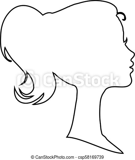 Black Profile Contour Silhouette Of Young Girl Or Woman Head Face