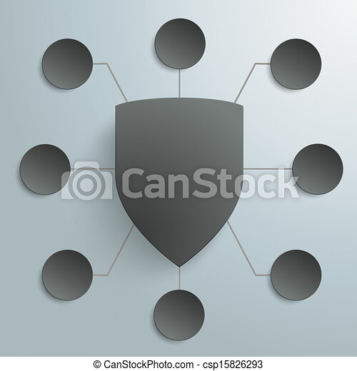 Black Protection Shield Infographic Design 8 Options PiAd - csp15826293