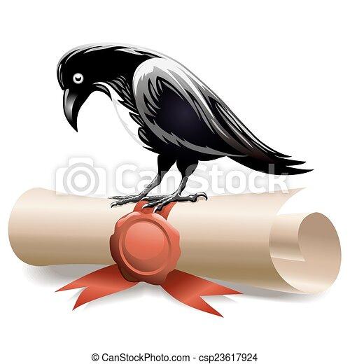 Black raven and diploma - csp23617924