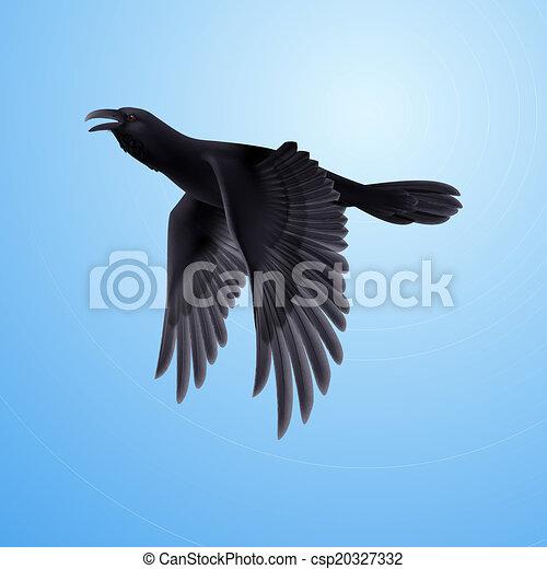 Black raven on blue background - csp20327332