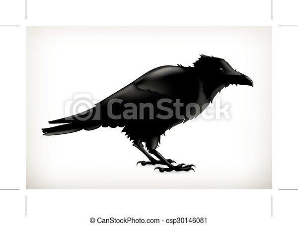 Black raven silhouette - csp30146081