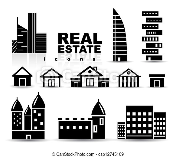 black and white apartment building clip art. Black Real Estate  Houses Buildings Icon Set Vector real estate houses buildings icon set Isolated on