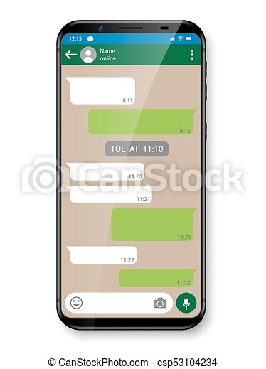 Black realistic Smartphone chatting or messaging app  Social network  concept  Mobile phone with Messenger window  Vector illustration