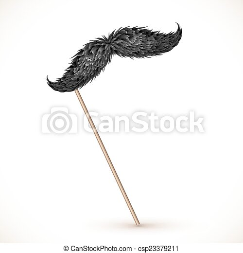 Black realistic vector mustaches on stick - csp23379211