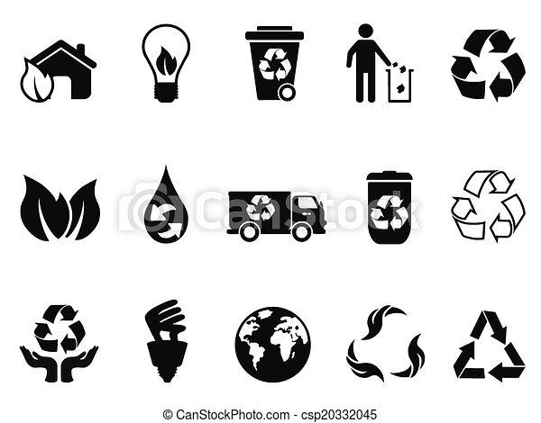 black recycling icons set - csp20332045