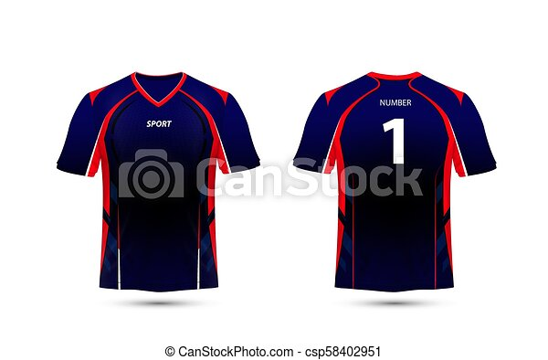 000542331 Black, Red and blue layout e sport t-shirt design template - csp58402951