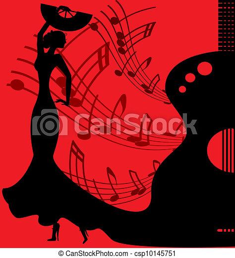 black-red background flamenco dancer - csp10145751