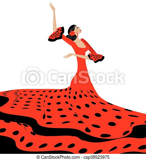black-red woman and flamenco - csp38523975