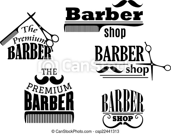black retro barber shop icons emblems or logos with vector clip rh canstockphoto com barber shop images clipart free barber shop clipart black and white