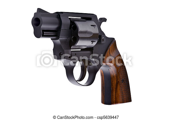 Black revolver isolated on a white background - csp5639447