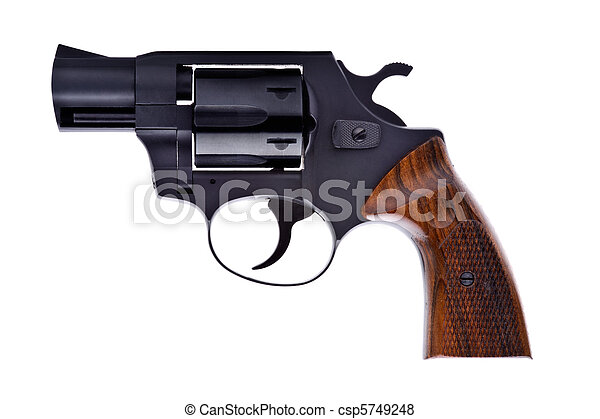 Black revolver isolated on a white background - csp5749248