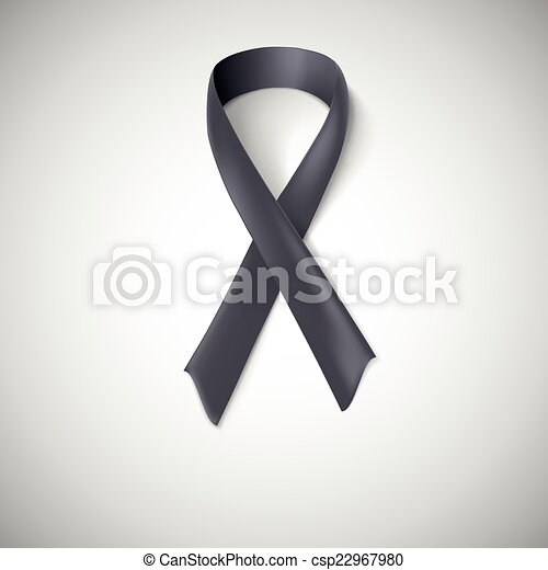 Black Ribbon Loop Awareness Ribbon On White Background Mourning
