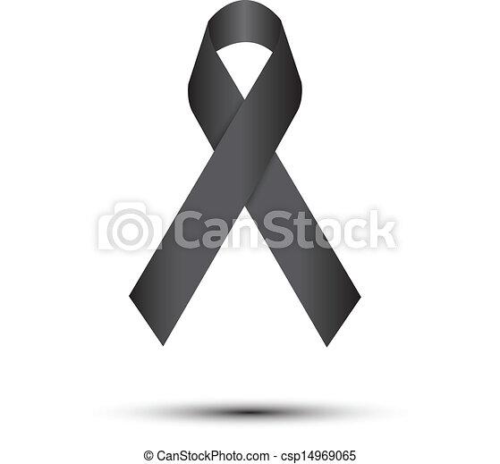 Black ribbon on white - csp14969065